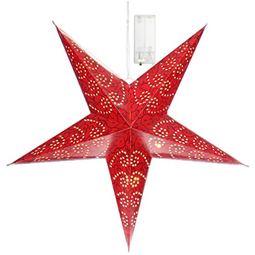 com-four® Leuchtstern in 3D mit LED Beleuchtung in warm-weiß zum Aufhängen, hochwertiger und Stabiler Papierstern in rot (01x Stern - rot)