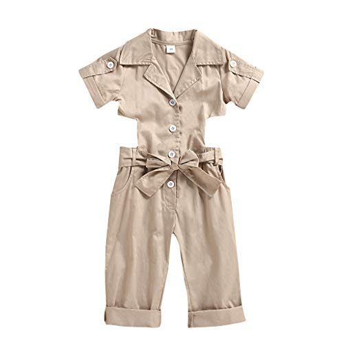 Julhold Baby Girls Kids Toddler Fashion Elegant Sleeveless Solid Bowknot Casual Slim Jumpsuit Romper Clothes 1-5 Years (Khaki, 1-2 Years)