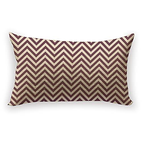 Reebos Funda de cojín de lino y algodón, diseño geométrico de chevron, color burdeos