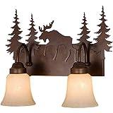 2 Light 17 Inch Rustic Moose Bathroom Vanity Lighting Fixture in Bronze, Rustic Moose Bath Vanity Wall Light Lamp Moose Lighting Deer Lighting Bear Wall Light Vanity Light Lamp