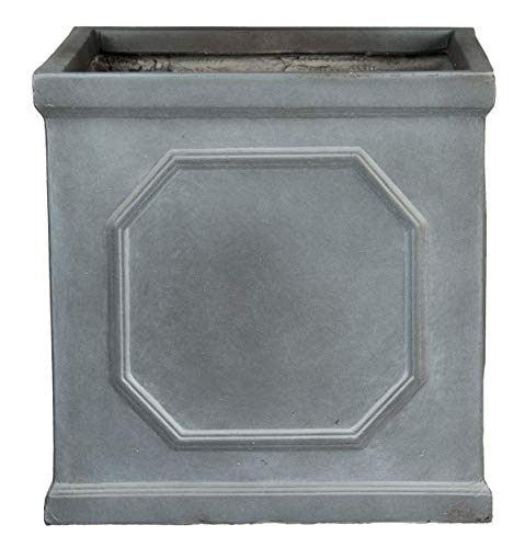 IDEALIST Small Flower Outdoor Garden Planter Table Pot with Drainage Hole Contemporary Light Concrete Chelsea Square Box W22 H22 L22 cm Grey, 11 ltrs.