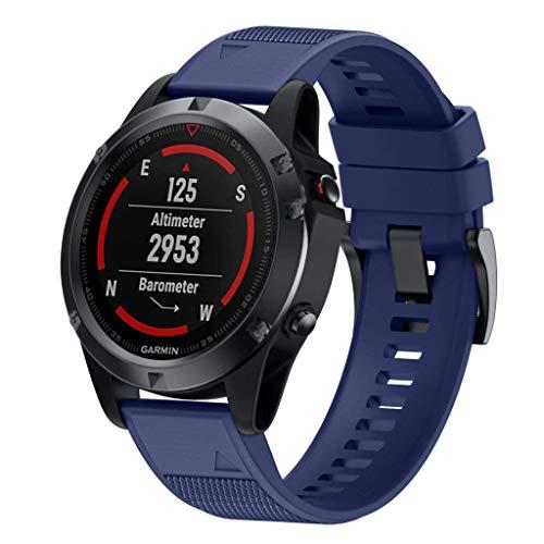 BarRan Garmin Fenix 5 / Fenix 5 Plus Armband, Easy Fit 22 mm breed zachte siliconen horlogeband voor Garmin Fenix 5 / Forerunner 935/Approach S60/Quatix 5