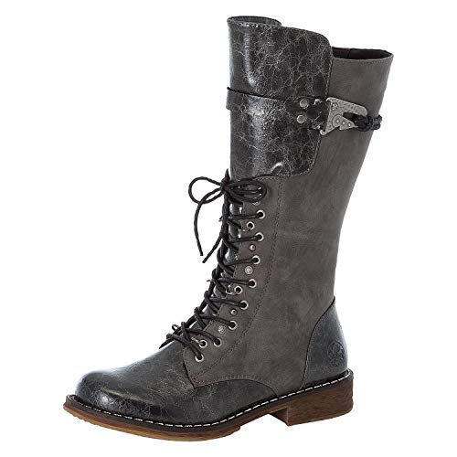 Rieker Damen 94463 Kniehohe Stiefel, grau, 42 EU