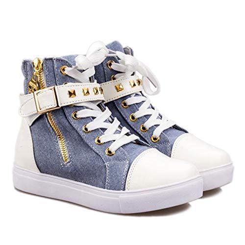Zapatos de lona con cremallera lateral para mujer, zapatos de moda para mujer, zapatos de alta calidad, transpirables, ligeros, suaves, resistentes al desgaste, azul, 38