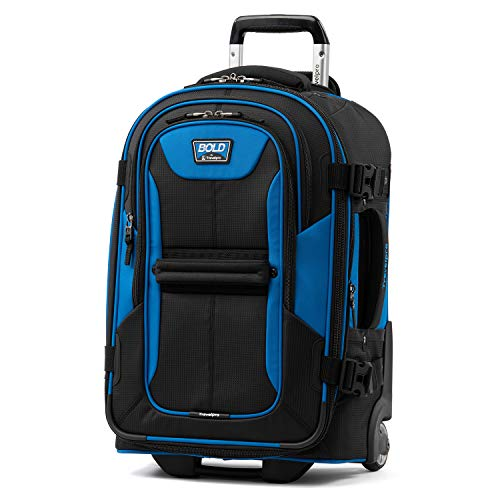 Travelpro Bold - Softside Expandable Rollaboard Upright Luggage, Blue/Black, Checked Medium