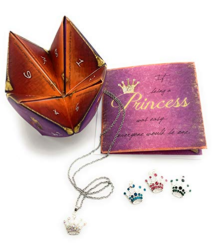 Smiling Wisdom - Princess Necklace Card Gift Set - Origami Fortune Teller Game - Girls, Tween, Daughter - Birthday, Holiday Gift - Silver, Pink. AB Crystals