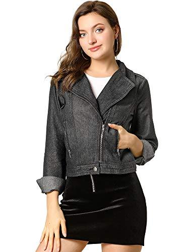 Allegra K Women's Asymmetrical Denim Jacket Moto Crop Lapel Zipper Zip Up Washed Jean Short Cropped Jacket Top Small Black