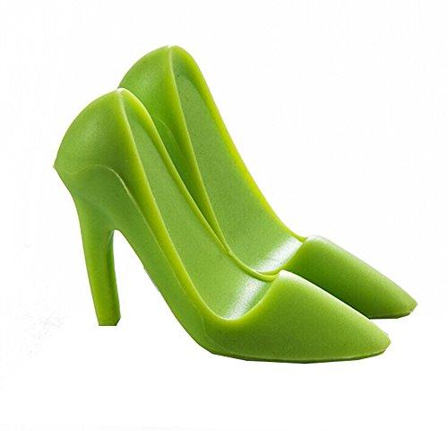 Scrox 1x 3D High Heel Schuhe Modell Universal Stand Telefon Halter,Phone Ständer Auto Handy Halterung für Andrews, iPhone Handy-Halter (Grün)