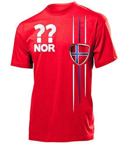 Norwegen Norway Norge Wunsch Zahl ohne Name Fan t Shirt Artikel 3336 Fuss Ball EM 2020 WM 2022 Trikot Look Flagge Fahne Männer Herren Jungen L