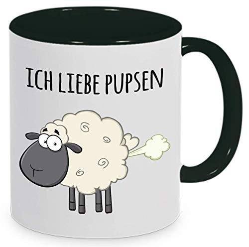 """Tassenliebe® - Tasse mit Spruch\""""Ich Liebe Pupsen\"""", Furzen, Lustiges Schaf auf Kaffeetasse, Bürotasse, Tasse mit Motiv - tolles Geschenk! (Schwarz)"""