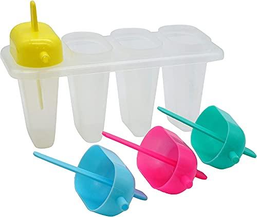 SRV Hub 1 bandeja de hielo con 4 molduras, molde para paletas, sin BPA, reutilizable, para niños