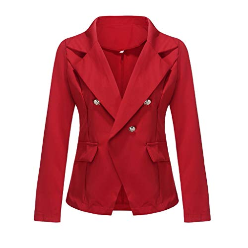Hffan Damen Blazer Elegant Herbst Cardigan Leicht Dünn Bolero Strickjacke Büro-Blazer Cardigan Dünn Business Einfarbig Jacke