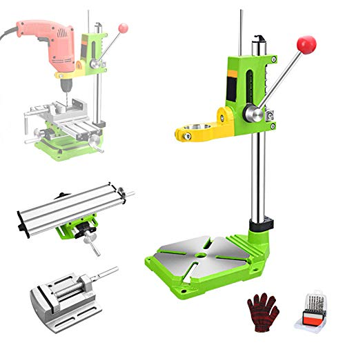 EnweMahi Drill Stand 360°Rotating Chuck, Table Top Drill Press 27-43mm Clamping Height Adjustment, Clamp Base Drill Press Stand for Drilling, Cutting, Grinding, Polishing,D