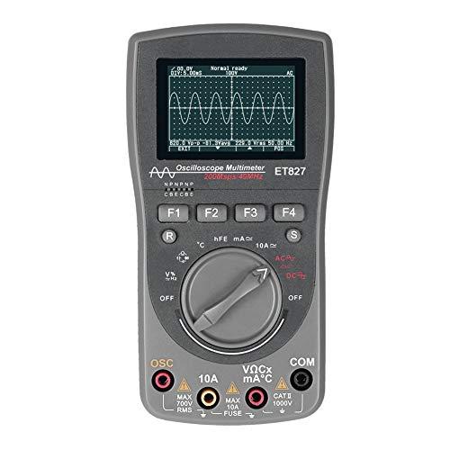 Multímetro osciloscopio digital Et827 2 en 1 Multímetro inteligente de forma de onda gris (osciloscopio digital)