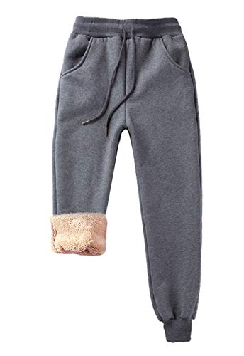 Z&A Womens Fleece Pants Sherpa Lined Sweatpants Active Running Jogger Pants (Medium, 02 Dark Grey)