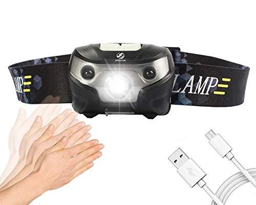 Linterna frontal LED recargable, con sensor, interruptor de faro, impermeable, superbrillante, 4 modos de iluminación, faro de pesca con cable USB