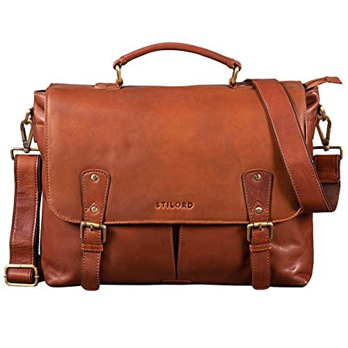 STILORD 'Lucien' Borsa Lavoro Donna in Pelle Vintage Messenger Bag Borsa Tracolla per PC Business in Cuoio Morbida, Colore:cognac-marrone