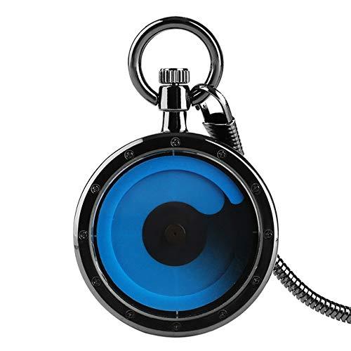 Alaca Reloj de bolsillo con colgante de diseño moderno, estilo steampunk, de bolsillo, para hombre y mujer, color azul