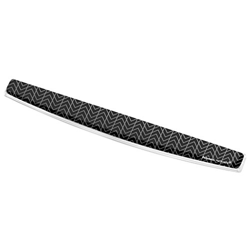 Fellowes Photo Gel Keyboard Wrist Rest with Microban Protection, Black Chevron (9550001)