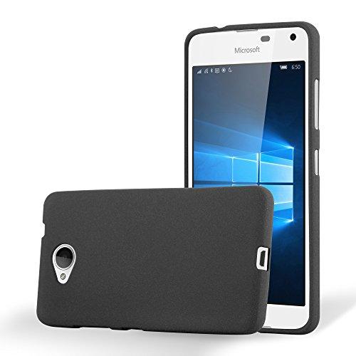 Cadorabo Funda para Nokia Lumia 650 en Frost Negro - Cubierta Proteccíon de Silicona TPU Delgada e Flexible con Antichoque - Gel Case Cover Carcasa Ligera