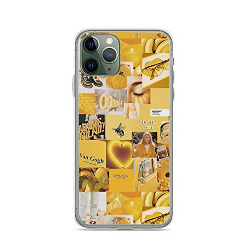 Roadiress Yellow Aesthetic Collage Compatible con iPhone 12/12Pro MAX 12 Mini 11 Pro MAX XR XS/XsMax SE 2020 7 8 6/6s Plus Huawei Samsung Series Funda Protectora