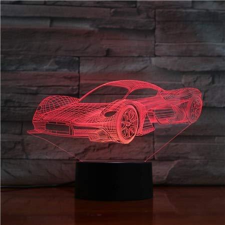Solo 1 pieza Cool Sports Car 3D Night Light Changing LED Lámpara de mesa de escritorio Acrílico Ilusión Multicolor Lámparas para regalo de niños
