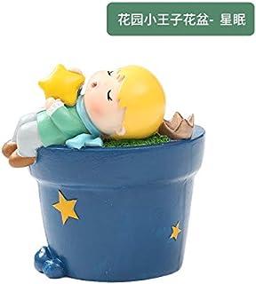 1 piece Succulent Planter Small ornament Cute Prince Pots Resin Little Boy Flowerpot Bonsai Garden Yard Decor Birthday gifts (Color : Purple)