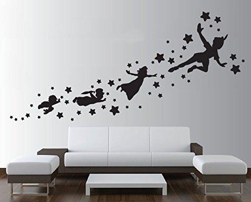 Motivo ombre di Peter pan-Adesivo da parete rimovibile in vinile, decalcomania, per bambini