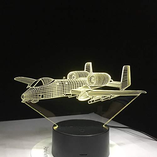 Solo 1 pieza Control remoto del avión de aire Luz 3D Lámpara de mesa LED Ilusión Luz nocturna Lámpara cambiante del estado de ánimo Lámpara USB alimentada