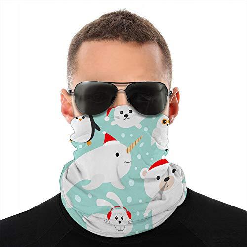 ncnhdnh Unisex Fleece Neck Cover Gaiters Hairband Arctic Polar Animal Set in Red Santa Hat White Half Shield