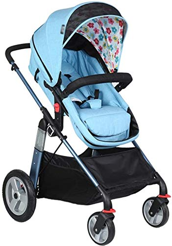LAMTON Baby Pushchair, Buggy, Pushchairs Baby Stroller with Reversible Bassinet Compact Pushchair Suitable for Children 0-3 Years Old,80x100cm (Color : Blue) LAMTON The adjustable 5-point safety harness has comfortable shoulder pads, The sturdy frame has a wider seat which results in a more comfortable ride for your child The stroller can be easily folded, smaller and more portable; the adjustable backrest angle can be seated or lying down, as well as a large shopping basket and caster ★Carbon steel frame, sturdy, lightweight, durable, easy to store and travel 1