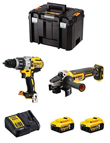 DeWALT Kit DWK221 (Taladro Percutor DCD996 + Mini-Amoladora DCG405 + 2 Baterías de 5,0 Ah + Cargador + TSTAK VI)