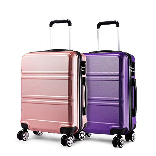 Kono Luggage Set 2 Pieces Light Weight Hard Shell ABS Suitcase 4 Wheel Hand Luggage Cabin Travel Case (Purple+Nude)