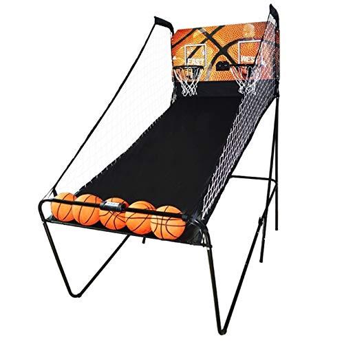 HYDT Juego de Baloncesto Juegos de Arcade de Tiro de Aro Electrónico Doble, Sala de Recreación Plegable Sistema de Tiro Deportivo con 8 Modos de Juego, para Uso en Interiores y Exteriores