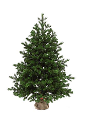eveXmas Altair Traditional Artificial Christmas Tree 3ft / 90cm, 137 branches 100% PE Tips, Incl. Decorative Stand In Burlap