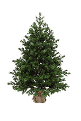 eveXmas 90cm Künstlicher Weihnachtsbaum, Tannenbaum Altair Traditioneller Grün, 137 Zweige 100% PE-Spitzen, inkl. dekorativem Ständer im Sackleinen
