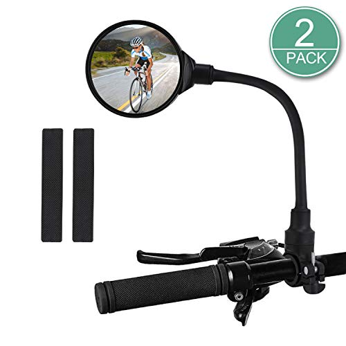 TAGVO Bike Mirror, Bicycle Wide Angle Rear View Safe Mirrors, Handlebar Mounted Convex Mirror 360 Degree Adjustable Rotatable for Mountain Road Bike Cycling (2 Pack)