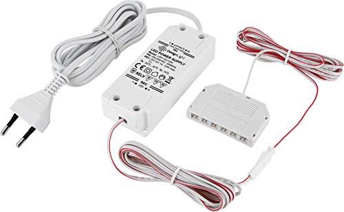 Bloc d'alimentation 12 V Mini-AMP - Transformateur LED 12 W - Avec fiche Euro + répartiteur 6 prises (mini-AMP) - 3 câbles de 2 m - Blanc