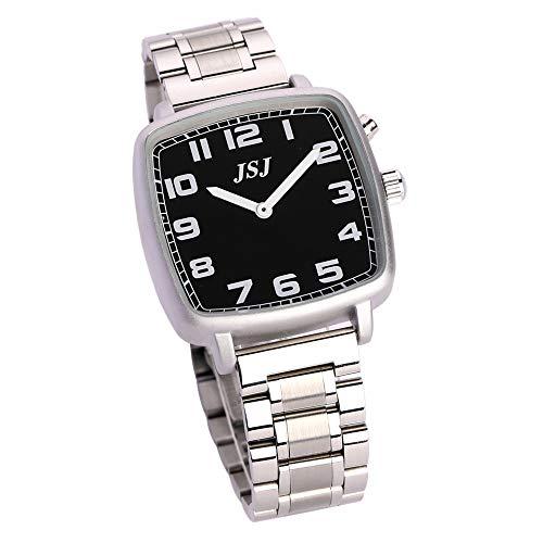 Reloj de pulsera cuadrado con función de despertador, función de voz, hora y fecha, esfera negra – correa de metal TGSW-1709G