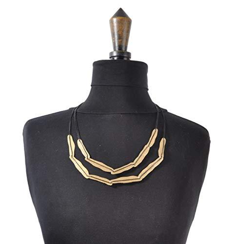 Culture Mix Halskette mit Kordel und vergoldetem Metall