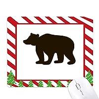 ブラックベアーのかわいい動物の描写 ゴムクリスマスキャンディマウスパッド