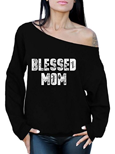 lesbian gifts for wifes Awkward Styles Blessed Mom Off Shoulder Sweatshirt for Women Funny Gifts for Mom