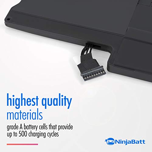 NinjaBatt Laptop-Akku A1466 A1496 A1369 für Apple MacBook Air 13 Zoll [2010 2011 2012 2013 2014 2015 2016 2017 Jahre] A1405 A1377 - Hohe Kapazität [7200mAh/55 Wh/7,6V]
