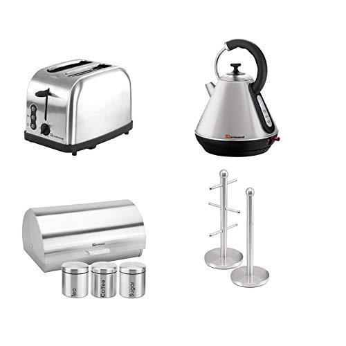Passendes Set: Brotkasten und Dosen + Toaster + Wasserkocher + Becherbaum und Küchenrollenhalter Set in verschiedenen Farben (Quarz)
