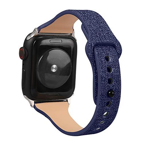 Fhony Banda de Reloj Cuero Piel Genuino Compatible con Apple Watch 38mm 40mm 42mm 44mm Piel Pulseras Brazaletes Bandas Reemplazo Bands Reloj para Iwatch Series 6 5 4 3 2 1 SE,Azul,38/40mm