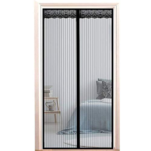 Mosquitera para puerta, mosquitera magnética, cierre de coche, adsorción magnética, aire puede fluir libremente, para puertas y patio, color negro, 220 x 225 cm