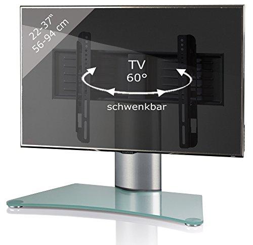 VCM TV-Standfuß Tischfuß TV Fernseh Aufsatz Fuß Erhöhung schwenkbar drehbar schwarzglas/Mattglas