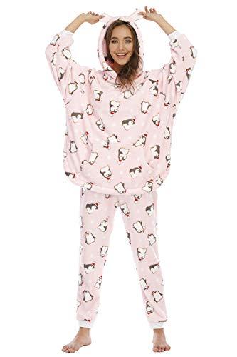 YAOMEI Kapuzenpullover Schlafanzug für Damen, Damen Flanell Schlafanzug Negliee Sleepshirt Paare Schlafanzug Warm Langen Ärmeln Button-Down Nachtwäsche Hosen Nachtkleid Lingerie (Pinguin, M)