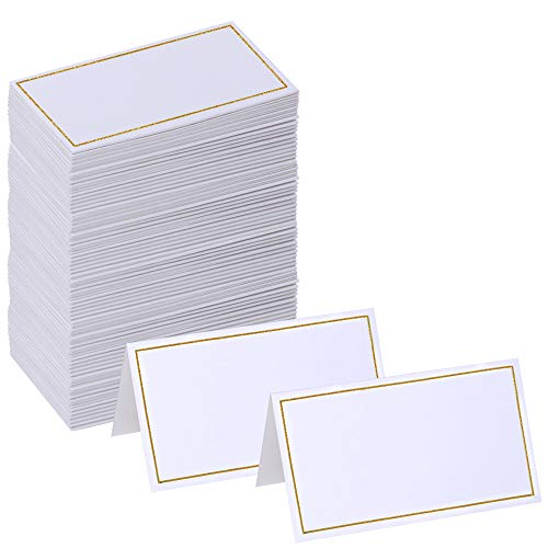Supla 100 Pcs Wedding Table Name Place Cards Blank Escort Cards Name Tags Tented Seating Table Cards Small Tent Paper Cards in White 3.5
