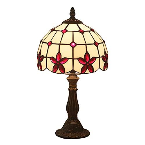 Tyue Tiffany Lámpara de Mesa W8 H15 Pulgadas Vidrieras y Cristal Lámpara de Lectura Lámpara de Lectura Base de Resina Antigua para Novia Sala de Estar Dormitorio Oficina E27 Luz de Noche, Rojo